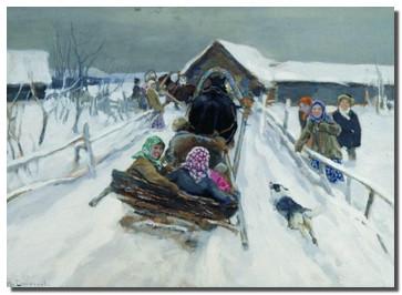 А.Степанов. Катание на санях. 1910 г.