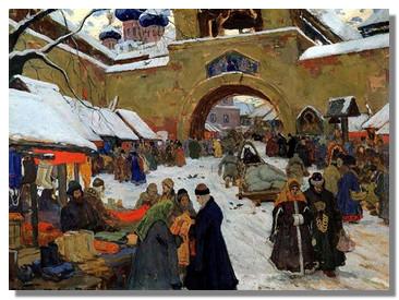 Горюшкин-Сорокопудов. Базарный день в старом городе. 1910 г.