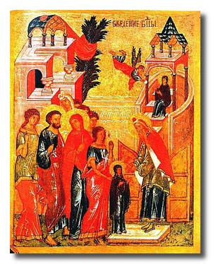 Новгородская икона Введение Пресвятой Богородицы во храм, конец 15-нач 16 в