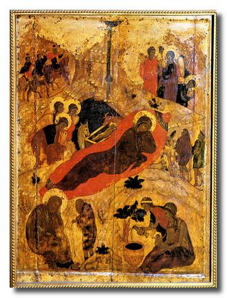 Икона Рождество Христово. 14 век.