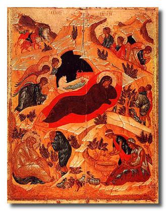 Икона Рождество Христово. А.Рублев