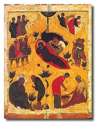 Икона Рождество Христово. 16 век.
