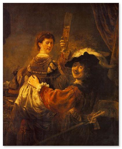 Автопортрет с Саскией на коленях, 1635