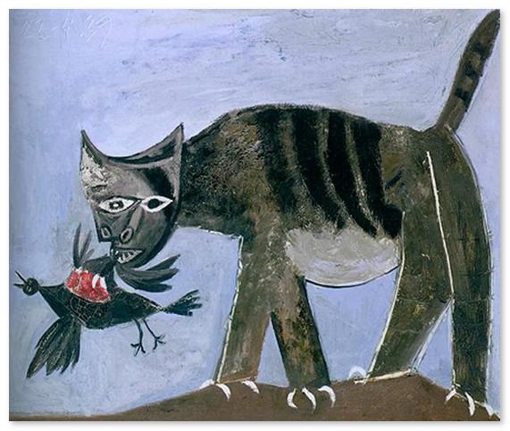 Кошка схватившая птицу 1938