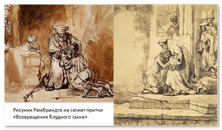 Рисунки Рембрандта на сюжет притчи Возвращение блудного сына