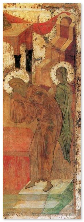 Икона Сретение Господне - фрагмент - Симеон и Анна