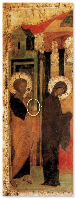 Икона Сретение Господне - фрагмент