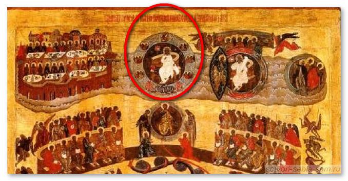 Фрагмент иконы Страшный Суд. Бог-Саваоф, Горний Иерусалим и Новое Небо