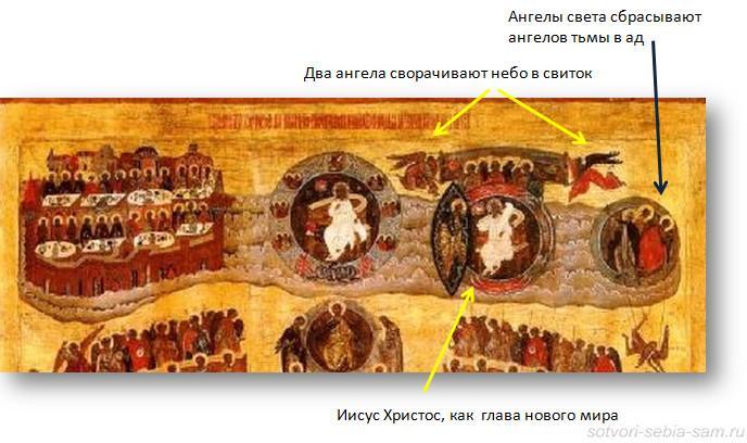 Фрагмент иконы Страшный Суд. Верхний правый угол_1