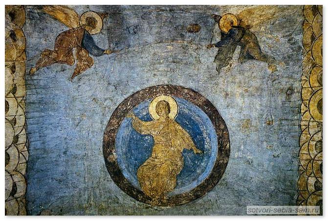 Христос в Славе (в мандорле). Над Ним Ангелы свивающие небо в свитки