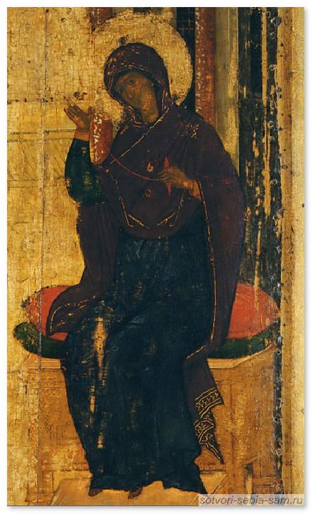 Фрагмент иконы Благовещения. Богородица